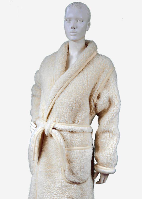schapenwollen badjas wolwit, badjas van 100% schapenwol Texelse Schapenboet