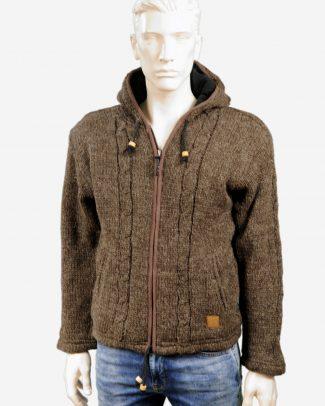 Schapenwollen vest bruin met kabelmotief