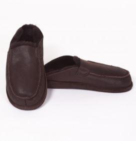 Pantoffel/slipper schapenvacht chocoladebruin Texelse Schapenboet