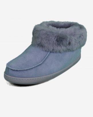Deluxe pantoffel grijs blauw met antislipzool