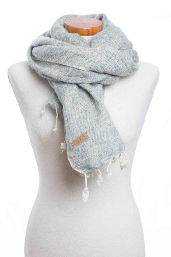 Sjaal-omslagdoek blauw-grijs (Blue plain) Puur Nepal
