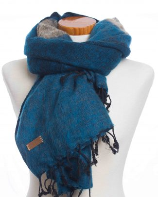 Sjaal Puur Nepal Dark Blue Sand stripe dubbel
