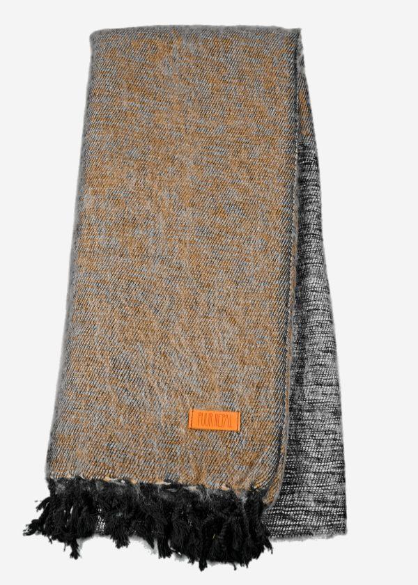Geborstelde katoenen sjaal omslagdoek bruin antraciet Texese Schapenboet