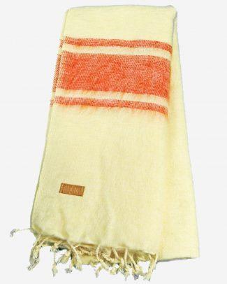 Geborstelde katoenen sjaal omslagdoek ecru oranje Texelse Schapenboet
