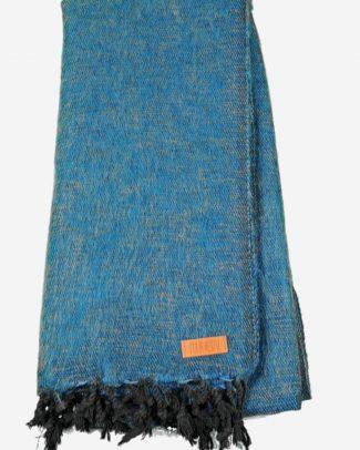 Geborstelde katoenen sjaal omslagdoek effen blauw Texelse Schapenboet