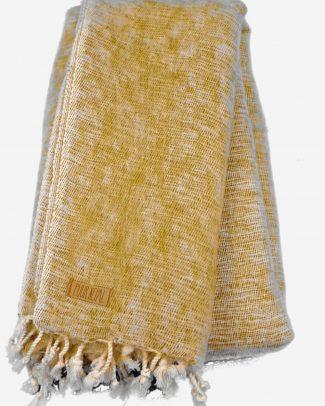 Geborstelde katoenen sjaal omslagdoek effen groen Texelse Schapenboet