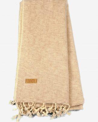 Geborstelde katoenen sjaal omslagdoek effen zand Texelse Schapenboet