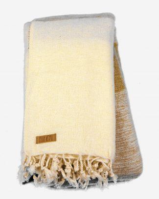 Geborstelde katoenen sjaal omslagdoek groen ecru gestreept