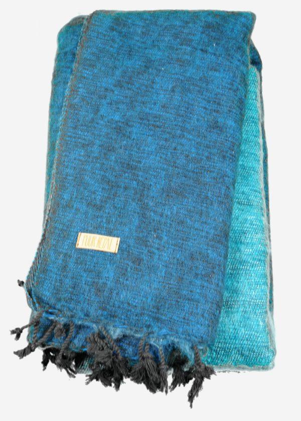 Geborstelde katoenen sjaal omslagdoek ocean blue driekleur Texelse Schapenboet