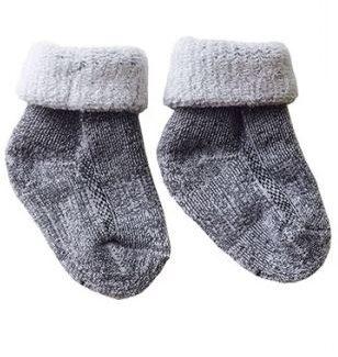 Merinowollen babysokjes grijs Texelse Schapenboet