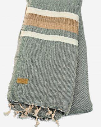 Ongeborstelde katoenen sjaal grijs zand gestreept Texelse Schapenboet