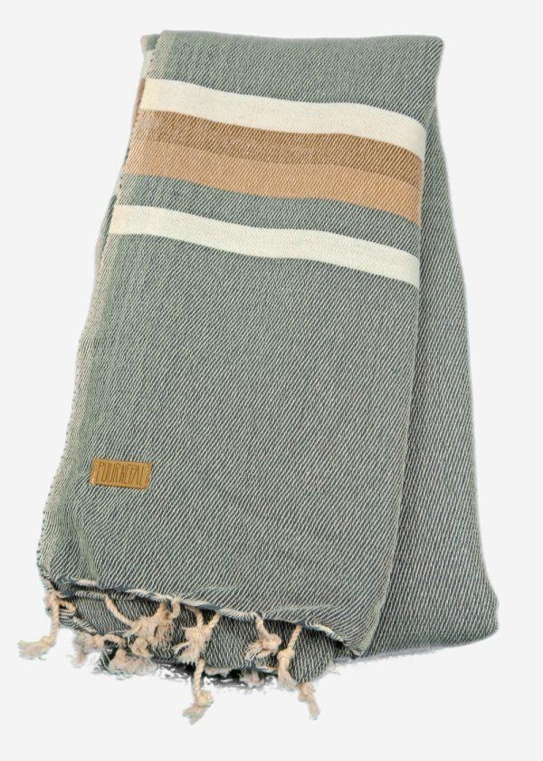 Sjaal Puur Nepal jeansblauw met ecru en beige streep. Texelse Schapenboet