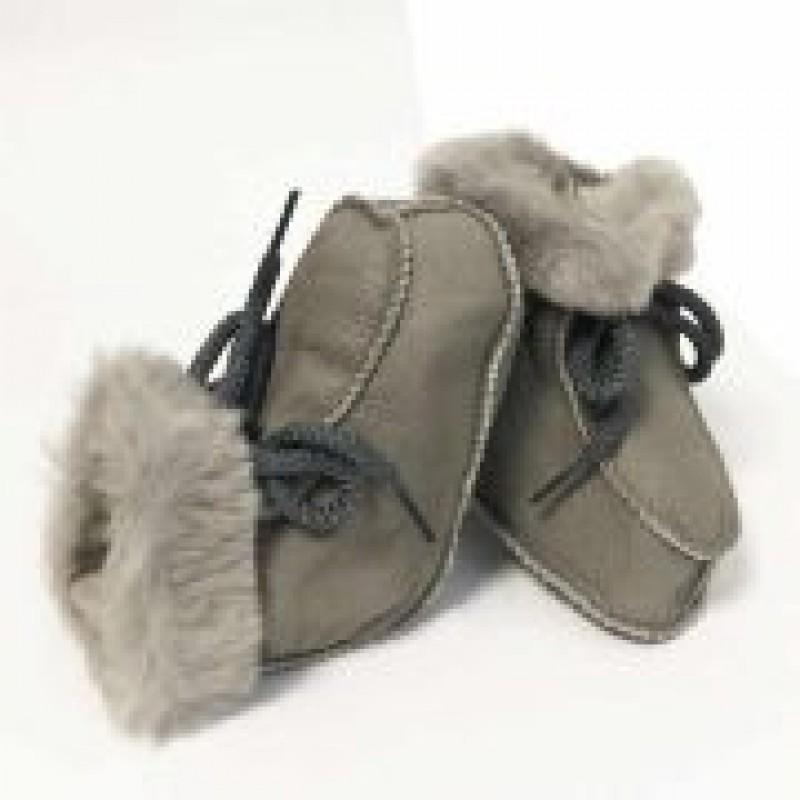 Lamsvel babyslofjes met vachtvoering grijs