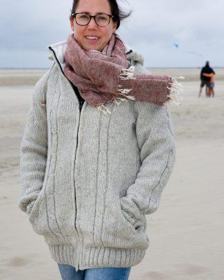 Texelse Schapenboet vest coat zandkleur/ecru kabel